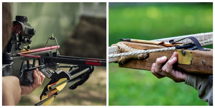 Holding Two Different Crossbows